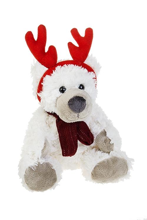 Игрушка мягкая Зимний мишкаИгрушки и куклы<br>Выс=25см, текстиль, кремовая<br>