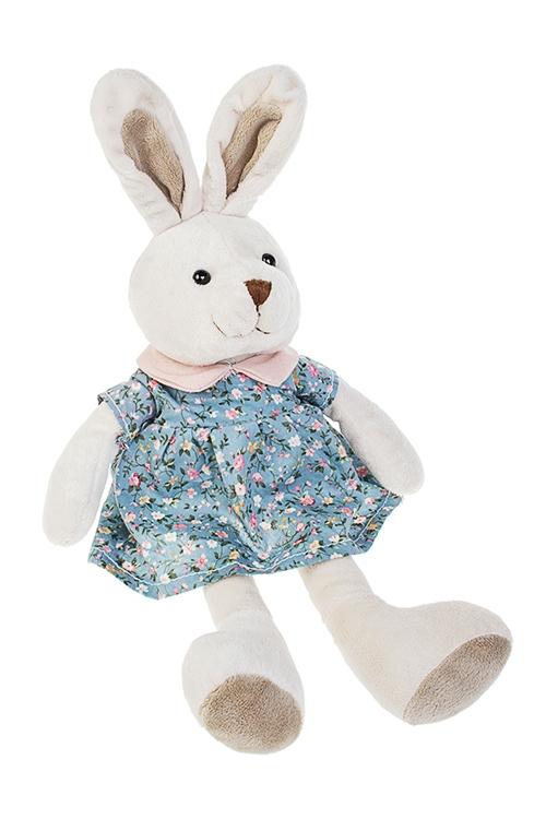 Игрушка мягкая Милая зайка в платьеИгрушки и куклы<br>Дл=35см, текстиль, крем.-голубая<br>