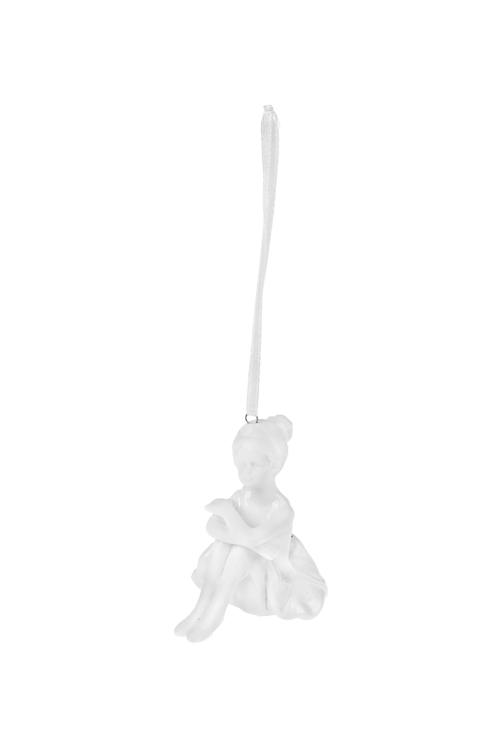 Украшение декоративное БалеринаПодарки<br>Выс=6см, фарфор, белое, подвесное (4 вида)<br>