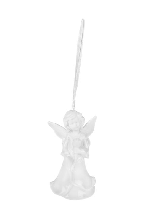 Украшение декоративное Прекрасный ангелокЕлочные игрушки<br>Выс=10см, фарфор, белое, подвесное (4 вида)<br>