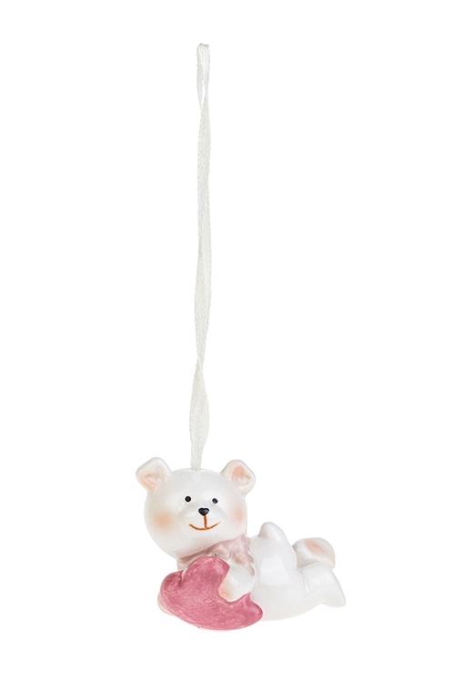 Украшение декоративное Влюбленный медвежонокСувениры и упаковка<br>Дл=7см, фарфор, крем.-розовое, подвесное (2 вида)<br>