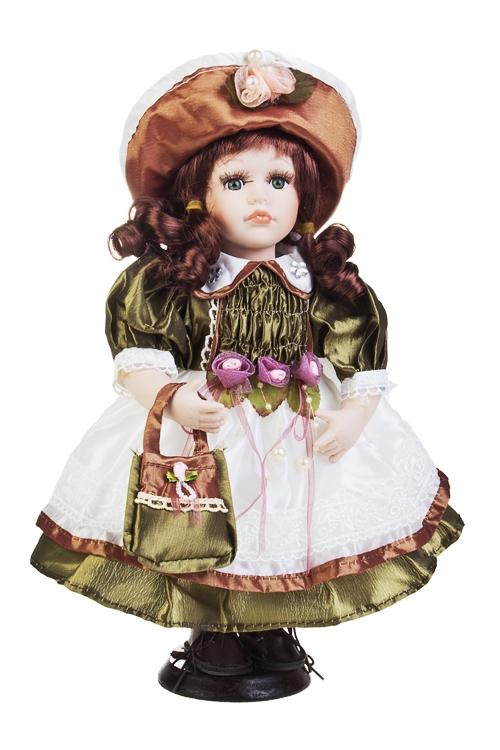 Кукла Кареглазая красавица в шляпкеФарфоровые куклы<br>Выс=31см, фарфор, текстиль, на подставке<br>