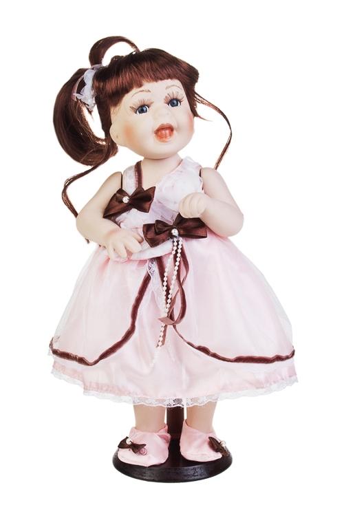 Кукла Малышка ЕлизаветаПодарки ко дню рождения<br>Выс=38см, фарфор, текстиль, в св.-розовом платье, на подставке<br>