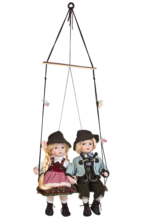 Набор кукол Баварские малыши на качеляхФарфоровые куклы<br>Выс=36см, фарфор, текстиль, беж.-коричн.-борд.<br>