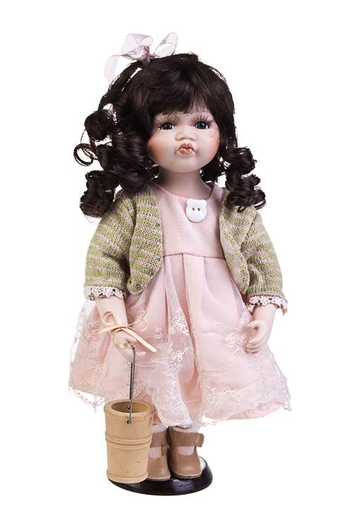 Кукла Голубоглазая кудряшкаФарфоровые куклы<br>Выс=30см, фарфор, текстиль, в розово-зеленом платье, на подставке<br>