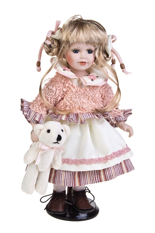 Кукла Малышка в фартучкеИгрушки и куклы<br>Выс=30см, фарфор, текстиль, в розовом платье, с мишкой, на подставке<br>