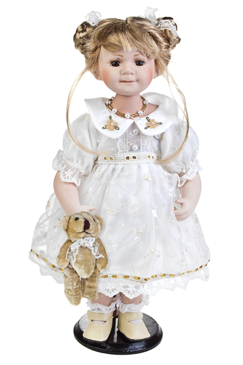 Кукла Маленькая принцессаФарфоровые куклы<br>Выс=38см, с мишкой, фарфор, текстиль, в белом платье, на подставке<br>