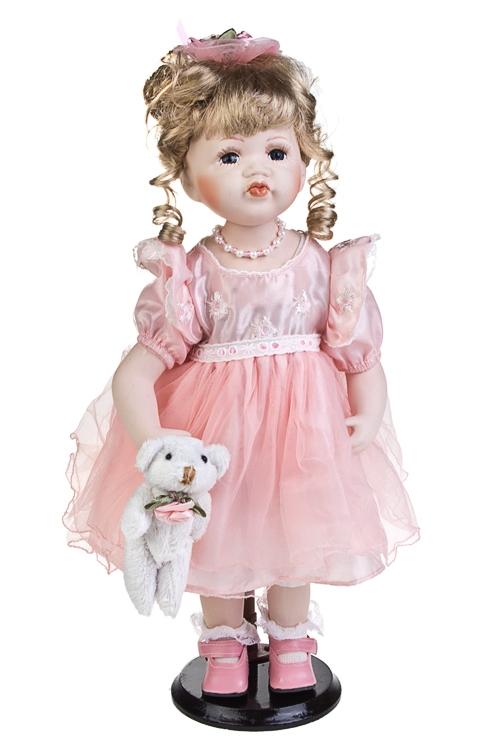 Кукла Маленькая красавицаФарфоровые куклы<br>Выс=38см, с мишкой, фарфор, текстиль, в розовом платье, на подставке<br>