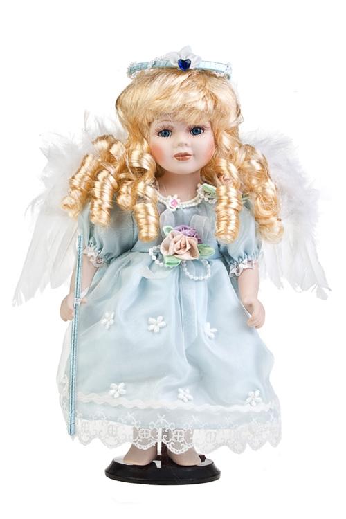 Кукла Прекрасный ангелФарфоровые куклы<br>Выс=30см, фарфор, текстиль, в голубом платье, на подставке<br>