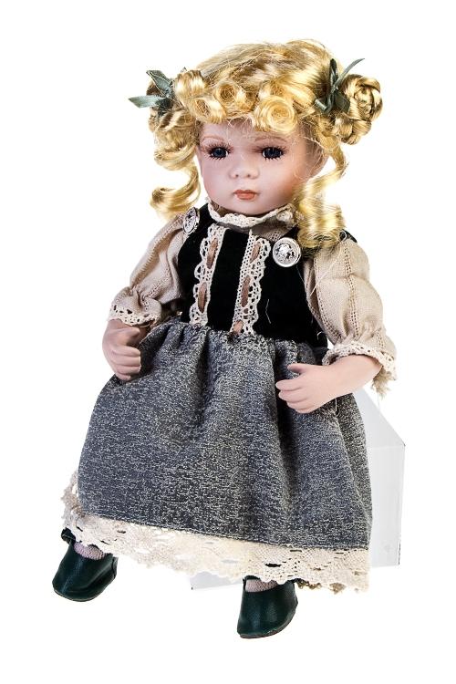 Кукла Баварская малышкаФарфоровые куклы<br>Выс=30см, фарфор, текстиль, в серо-зелено-крем. платье<br>