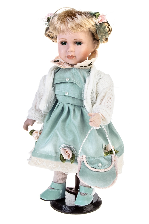 Кукла Маленькая ледиПодарки ко дню рождения<br>Выс=30см, фарфор, текстиль, в голубом платье, с сумочкой, на подставке<br>