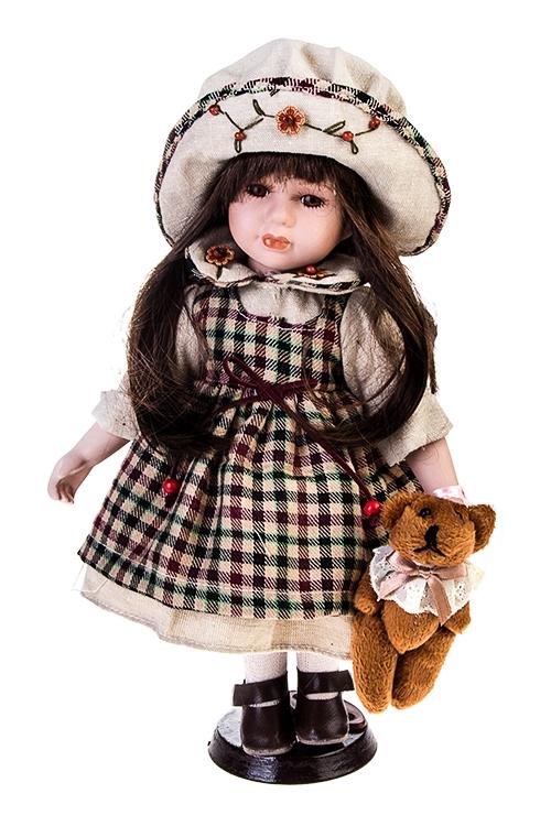 Кукла Малышка в шляпеИгрушки и куклы<br>Выс=36см, фарфор, текстиль, в клетчатом платье, с мишкой, на подставке<br>