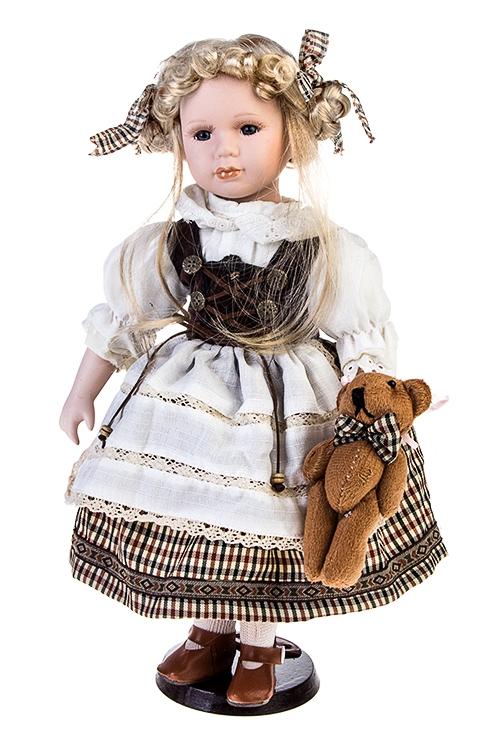 Кукла Баварская ледиИгрушки и куклы<br>Выс=40см, фарфор, текстиль, в бело-коричн. платье, с мишкой, на подставке<br>