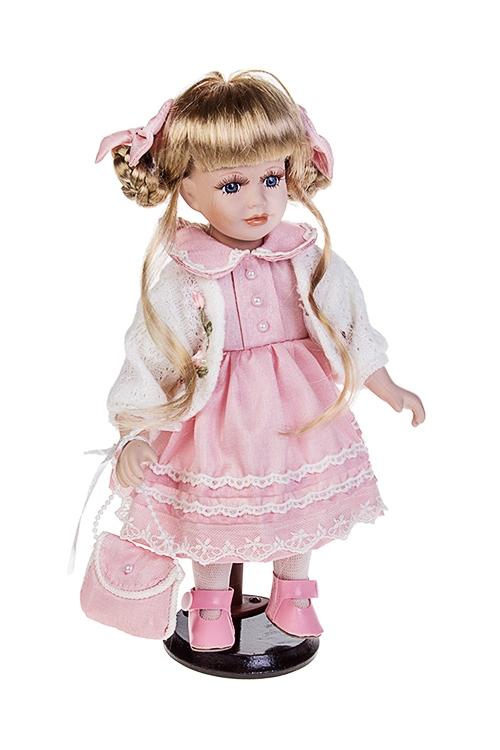 Кукла Малышка из ПровансаИгрушки и куклы<br>Выс=30см, фарфор, текстиль, в розово-бел. платье, с сумкой, на подст.<br>