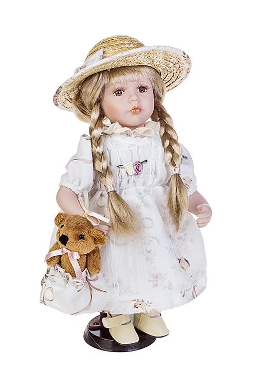 Кукла Малышка в соломенной шляпкеИгрушки и куклы<br>Выс=30см, фарфор, текстиль, в белом платье, с мишкой, на подст<br>