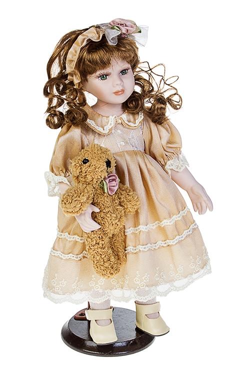 Кукла Изящная ледиИгрушки и куклы<br>Выс=35см, фарфор, текстиль, в беж. платье, с мишкой, на подставке<br>