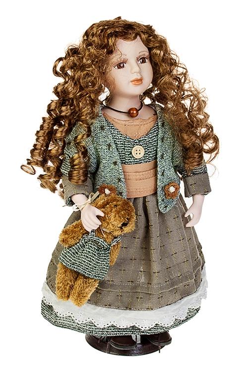 Кукла Стильная малышкаИгрушки и куклы<br>Выс=40см, фарфор, текстиль, в серо-зеленом платье, с мишкой, на подставке<br>