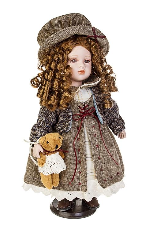 Кукла ФранцуженкаИгрушки и куклы<br>Выс=40см, фарфор, текстиль, в беж.-серо-синем платье, с мишкой, на подставке<br>