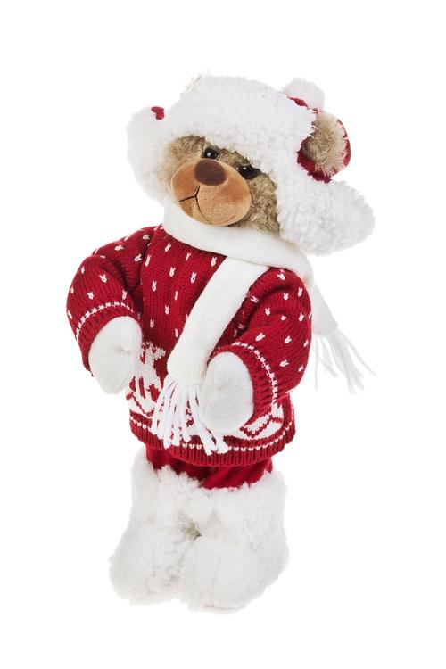 Игрушка мягконабивная Мишуля в шапке-ушанкеПлюшевые игрушки<br>Выс=36см, текстиль, красно-белая<br>