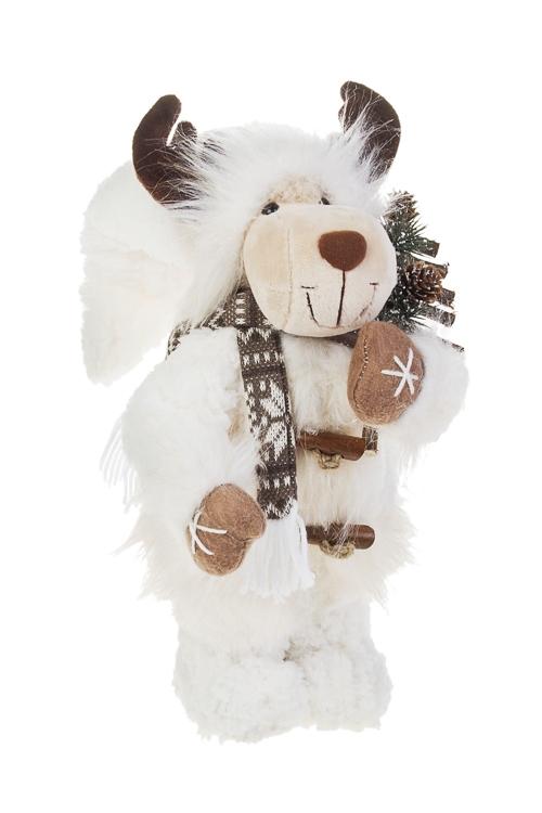Игрушка мягконабивная Лосик с елочкойПлюшевые игрушки<br>Выс=36см, текстиль, бело-коричн.<br>