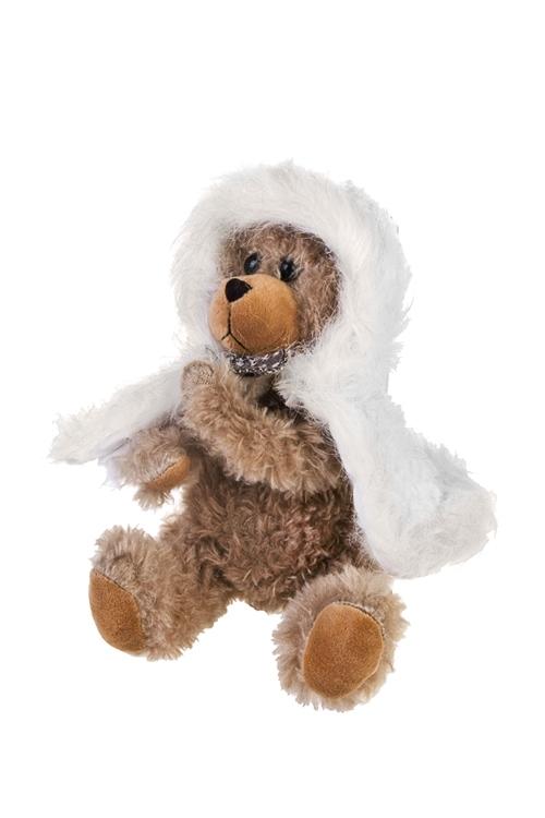 Игрушка мягконабивная Мишутка в шубкеПлюшевые игрушки<br>Выс=20см, текстиль, коричн.-белая<br>