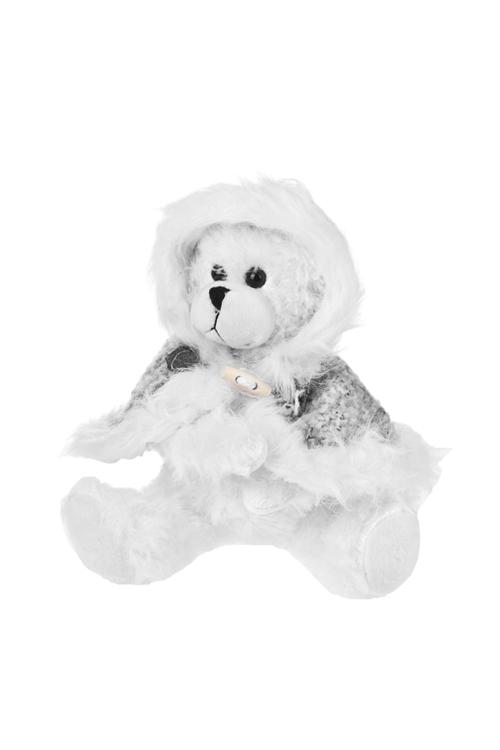 Игрушка мягконабивная Мишутка в шубкеПлюшевые игрушки<br>Выс=20см, текстиль, бело-серая<br>