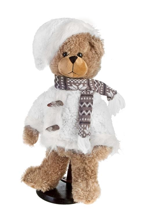 Игрушка мягконабивная МишуткаИгрушки и куклы<br>Выс=35см, текстиль, коричн.-белая, на подставке<br>