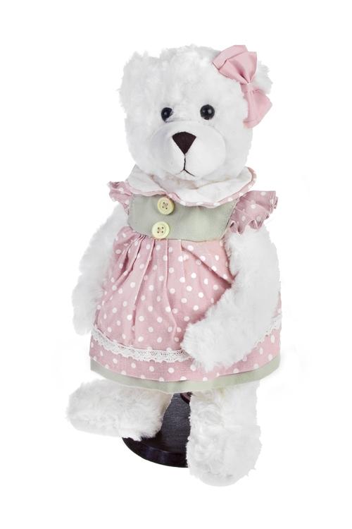 Игрушка мягконабивная Мишка в летнем платьеИгрушки и куклы<br>Выс=35см, текстиль, бело-розовая, на подставке<br>