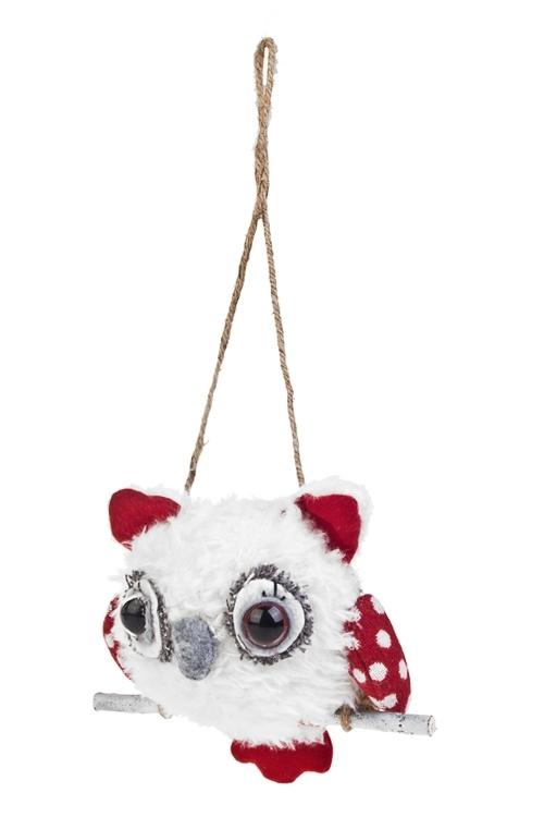 Игрушка мягконабивная Совушка на веткеЕлочные игрушки<br>Выс=19см, текстиль, бело-красная, подвесная<br>