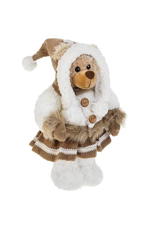 Игрушка мягконабивная Мишуля в шубке и шапкеМягкие игрушки на Новый Год<br>Выс=35см, текстиль, бело-коричн.<br>