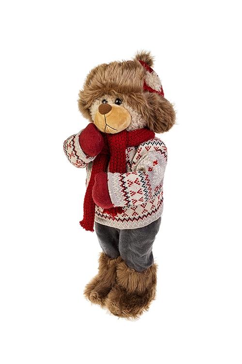 Игрушка мягконабивная Мишка в шапочкеНовогодние сувениры<br>Выс=52см, текстиль, красно-серо-коричн.<br>
