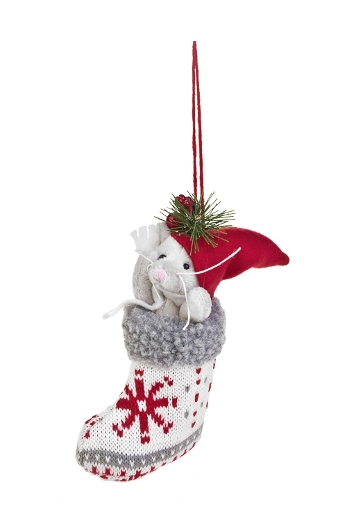 Украшение декоративное Котенок в сапожкеЕлочные игрушки<br>Выс=16см, текстиль, красно-бело-серое, подвесное<br>