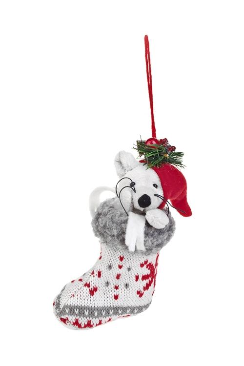 Украшение декоративное Миша в сапожкеЕлочные игрушки<br>Выс=16см, текстиль, бело-серо-красное, подвесное<br>