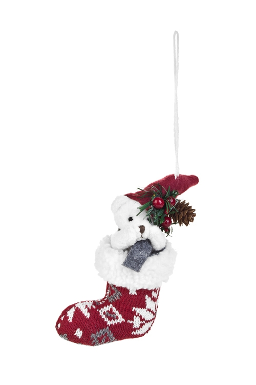 Украшение декоративное Мишутка с шапочкой в сапожкеЕлочные игрушки<br>Выс=16см, текстиль, красно-белое, подвесное<br>