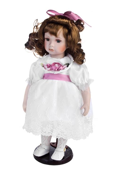 Кукла Милая МэриФарфоровые куклы<br>Выс=36см, фарфор, текстиль, бело-розовая, на подставке<br>