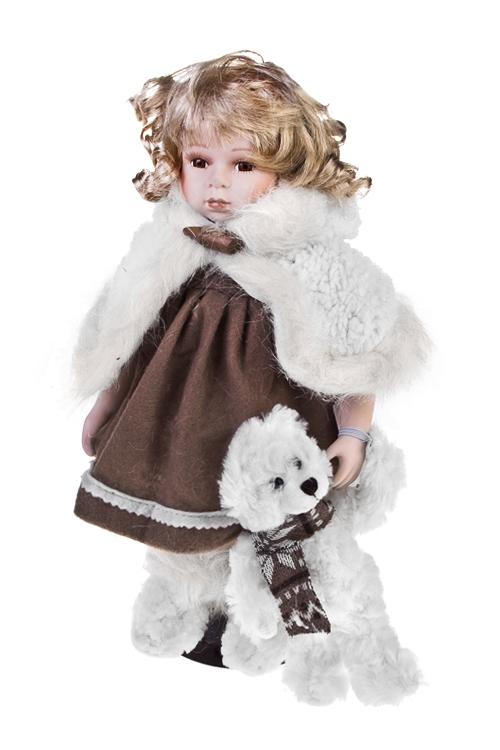 Кукла Леди в шубке с мишкойФарфоровые куклы<br>Выс=36см, фарфор, текстиль, бело-коричн., на подставке<br>