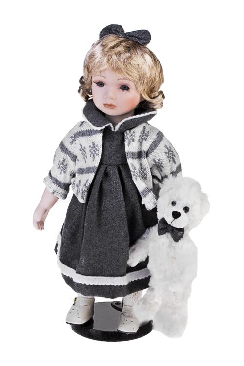 Кукла Малышка с мишкойФарфоровые куклы<br>Выс=36см, фарфор, текстиль, бело-серая, на подставке<br>