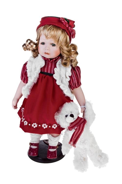 Кукла Малышка с мишкойФарфоровые куклы<br>Выс=36см, фарфор, текстиль, красно-белая, на подставке<br>