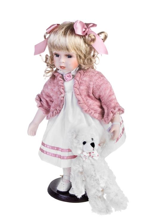 Кукла Милая Энни с мишкойФарфоровые куклы<br>Выс=36см, фарфор, текстиль, бело-розовая, на подставке<br>