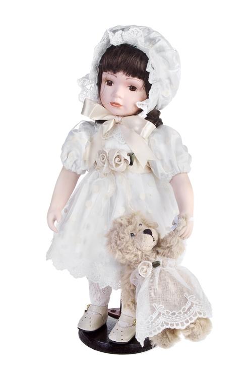 Кукла Леди с мишкойПодарки ко дню рождения<br>Выс=36см, фарфор, текстиль, крем., на подставке<br>