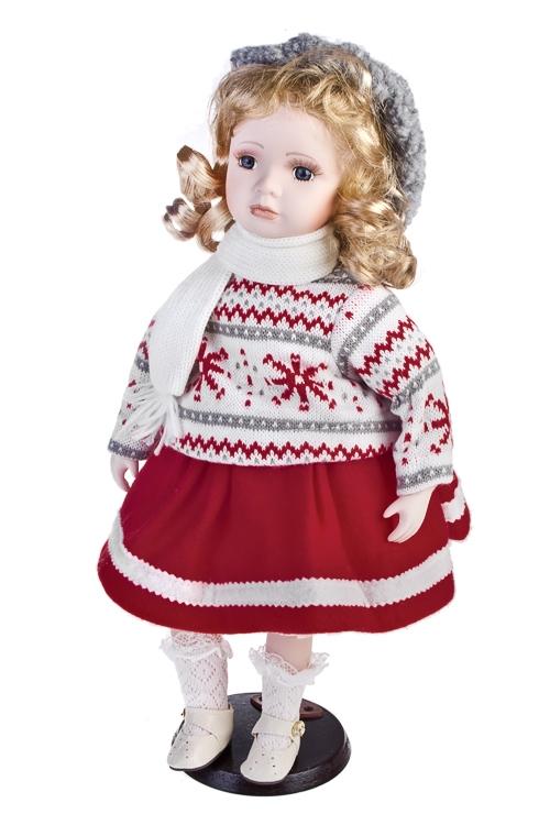 Кукла Маленькая модницаФарфоровые куклы<br>Выс=45см, фарфор, текстиль, красно-бело-серая, на подставке<br>