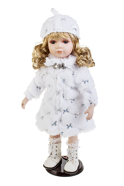 Кукла Маленькая леди в шубкеИгрушки и куклы<br>Выс=46см, фарфор, текстиль, белая, на подставке<br>
