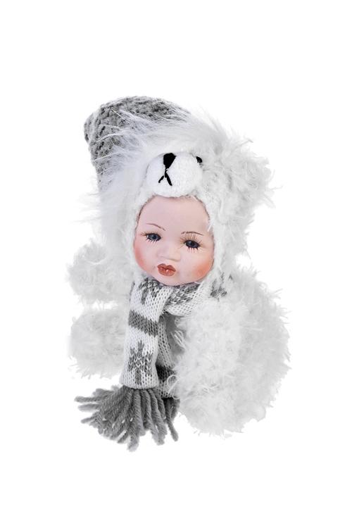 Кукла мягконабивная Маленький мишка в шапочкеИгрушки-куклы<br>Выс=17см, текстиль, фарфор, бело-серая<br>