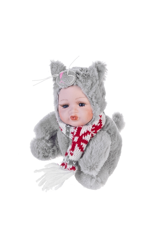 Кукла мягконабивная Маленький котенок с шарфикомИгрушки-куклы<br>Выс=17см, текстиль, фарфор, серая<br>