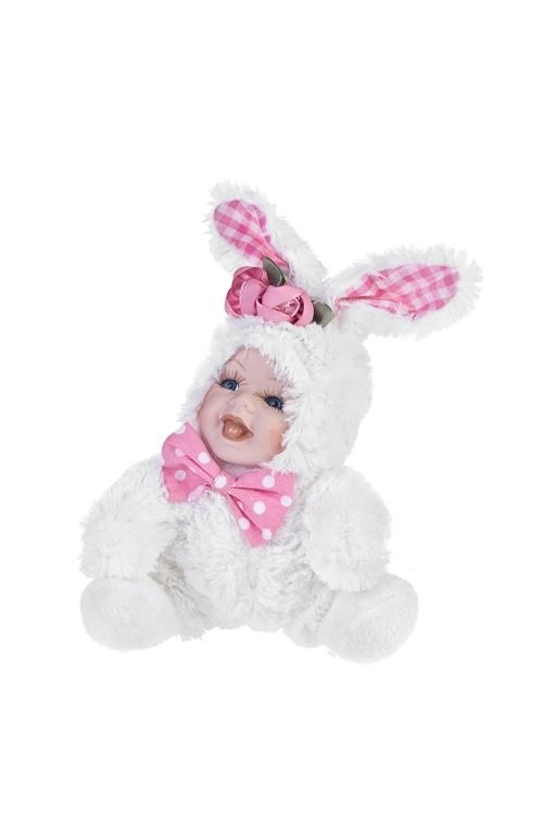 Кукла мягконабивная Маленькая зайкаИгрушки и куклы<br>Выс=17см, текстиль, фарфор, бело-розовая<br>