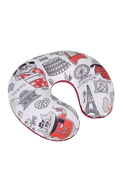 Подушка-подголовник Коты-путешественникиДача и Путешествия<br>25*30см, текстиль, разноцв.<br>