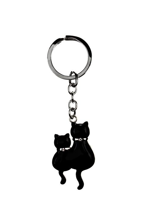 Брелок Парочка котовСувениры и упаковка<br>Металл, черный<br>