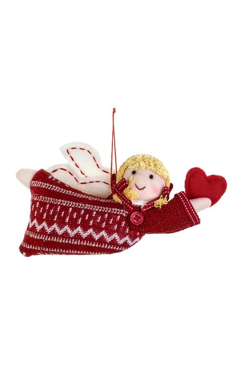 Кукла мягконабивная Ангелок с сердцемИгрушки и куклы<br>19*10см, текстиль, бело-красная, подвесная<br>