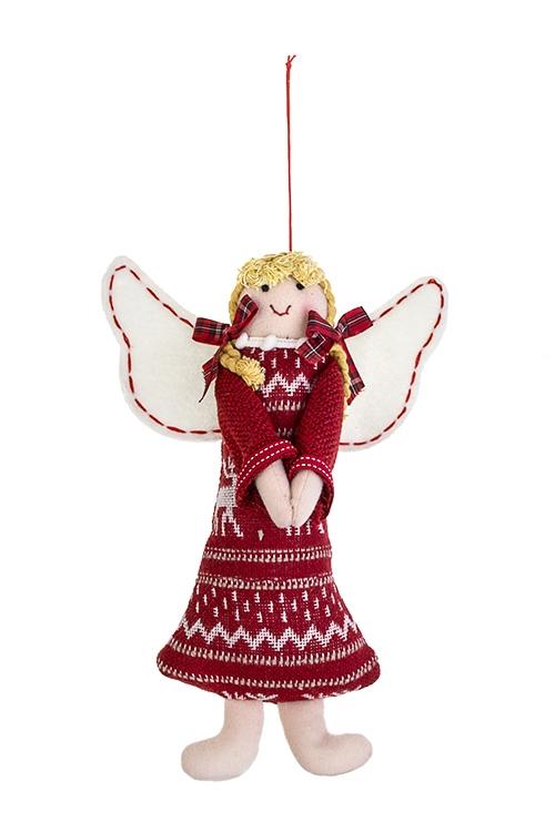 Кукла мягконабивная АнгелокТекстильные игрушки<br>14*22см, текстиль, бело-красная, подвесная<br>