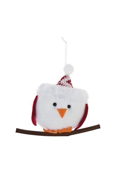 Игрушка мягкая Птичка на веточкеПодарки<br>Выс=15см, текстиль, бело-красно-зеленая, подвесная<br>